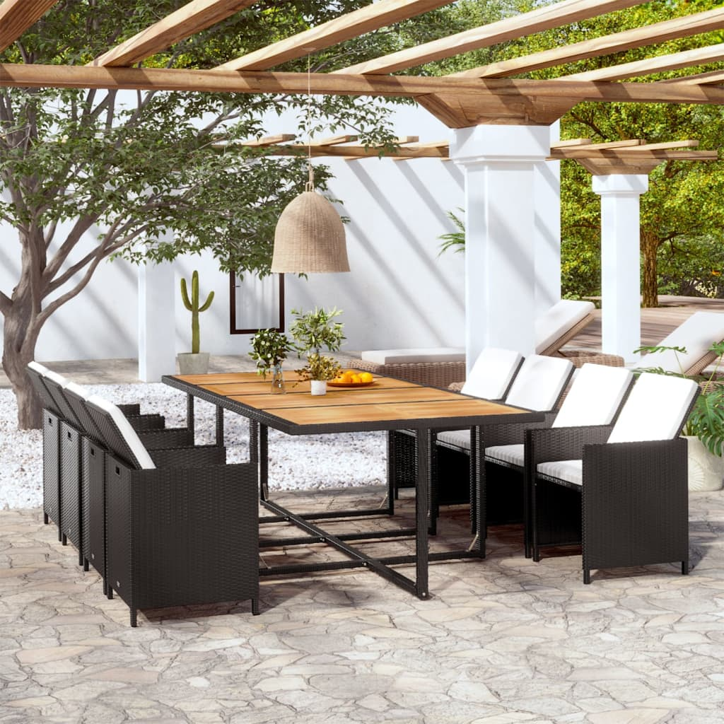 vidaxl gartenm bel set 37tlg poly rattan schwarz akazie essgruppe sitzgruppe ebay. Black Bedroom Furniture Sets. Home Design Ideas