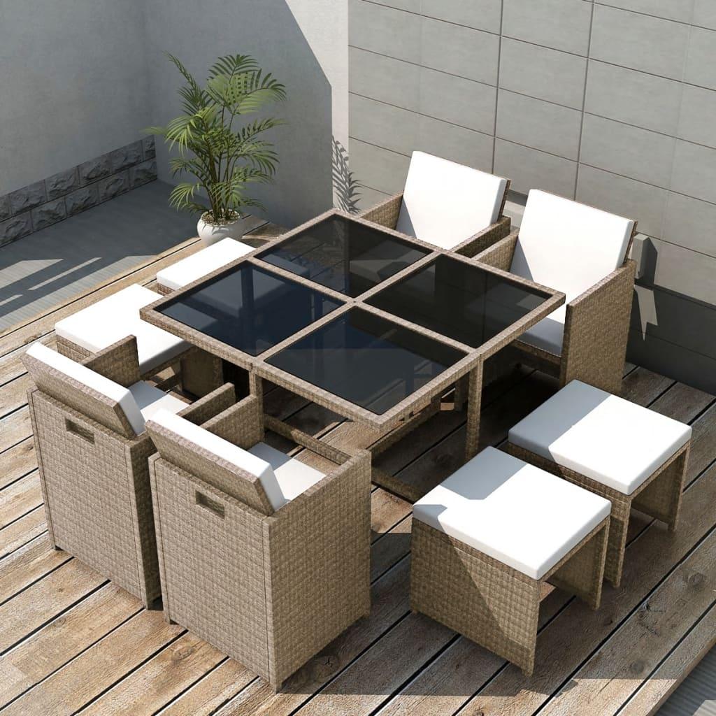 acheter vidaxl ensemble de mobilier de jardin 21 pi ces r sine tress e gris pas cher. Black Bedroom Furniture Sets. Home Design Ideas