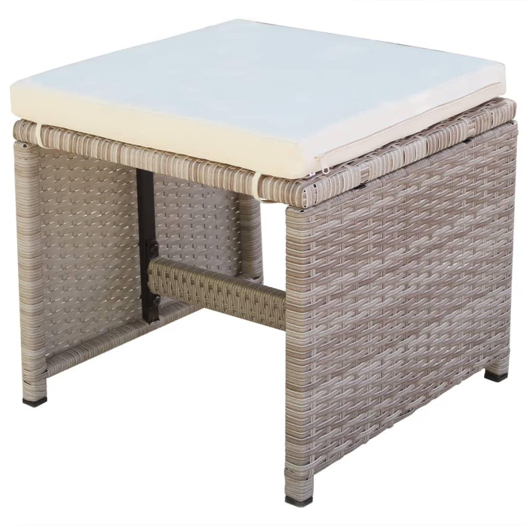 Vidaxl poly rotin ensemble mobilier de jardin 27 pcs gris for Ensemble mobilier jardin