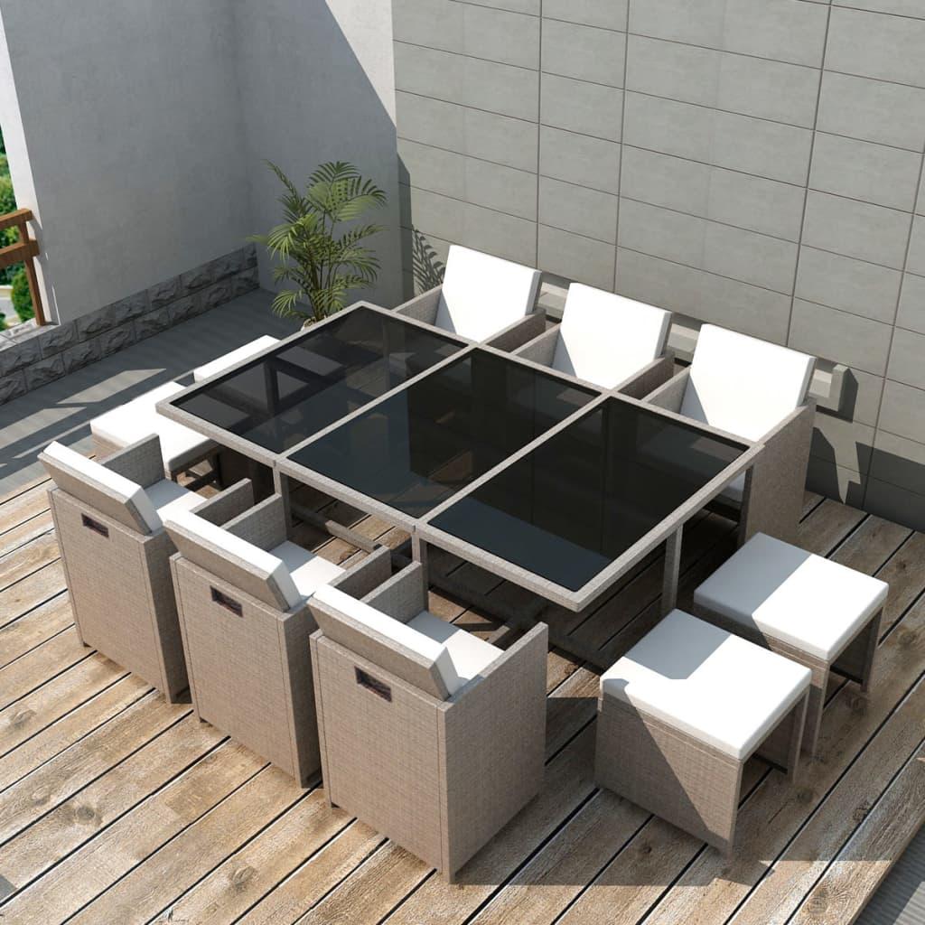 Vidaxl poly rotin ensemble mobilier de jardin 27 pcs gris for Ensemble mobilier salon