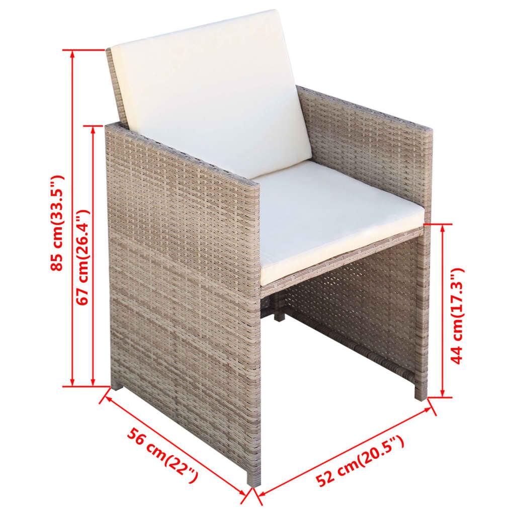 Vidaxl mobilier de jardin 33 pi ces r sine tress e gris for Mobilier de jardin resine