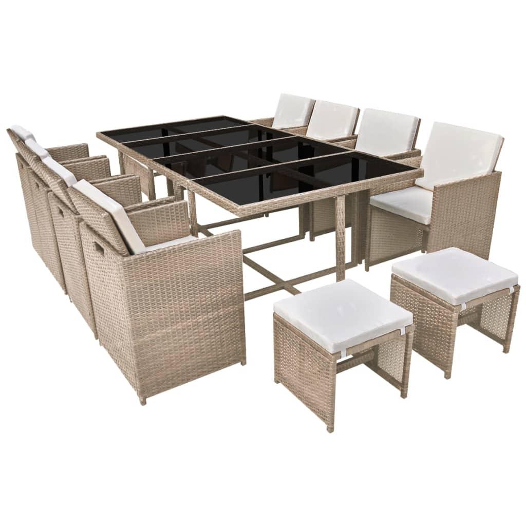 vidaxl 33 tlg garten essgruppe grau poly rattan g nstig. Black Bedroom Furniture Sets. Home Design Ideas