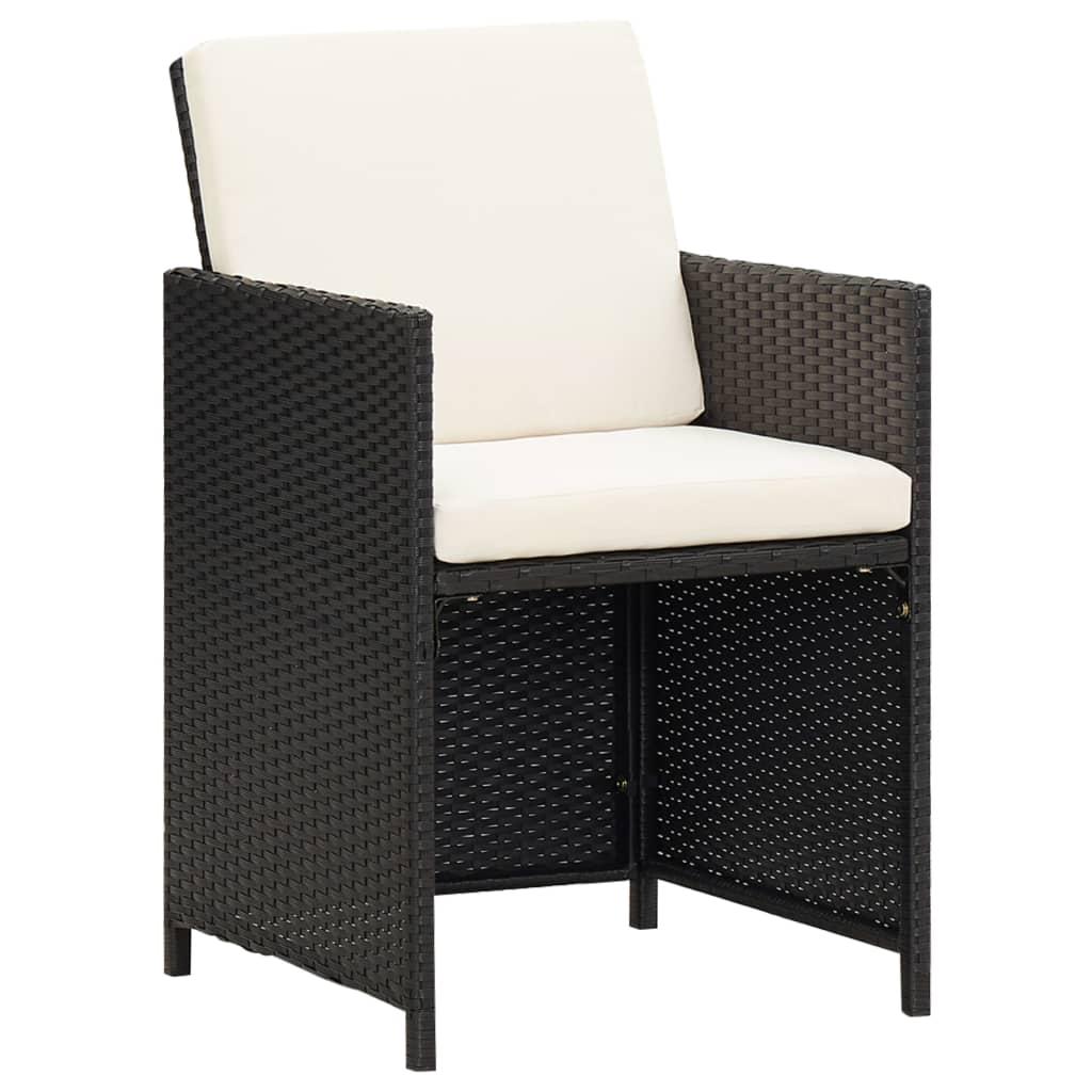 vidaXL Krzesła do jadalni 52x56x85 cm, 2 szt., ratanowe PE, czarne
