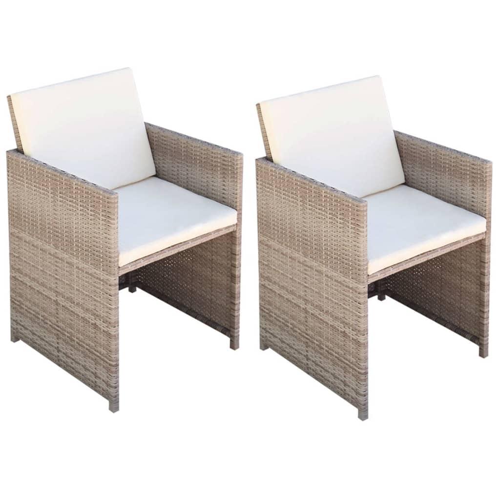 vidaXL 2 krzesła do jadalni, 52x56x85 cm, polirattan, szaro-beżowe