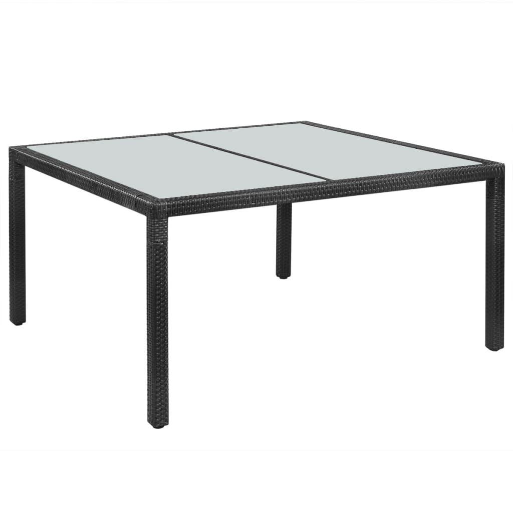 vidaXL fekete kültéri polyrattan étkezőasztal 150x90x75 cm