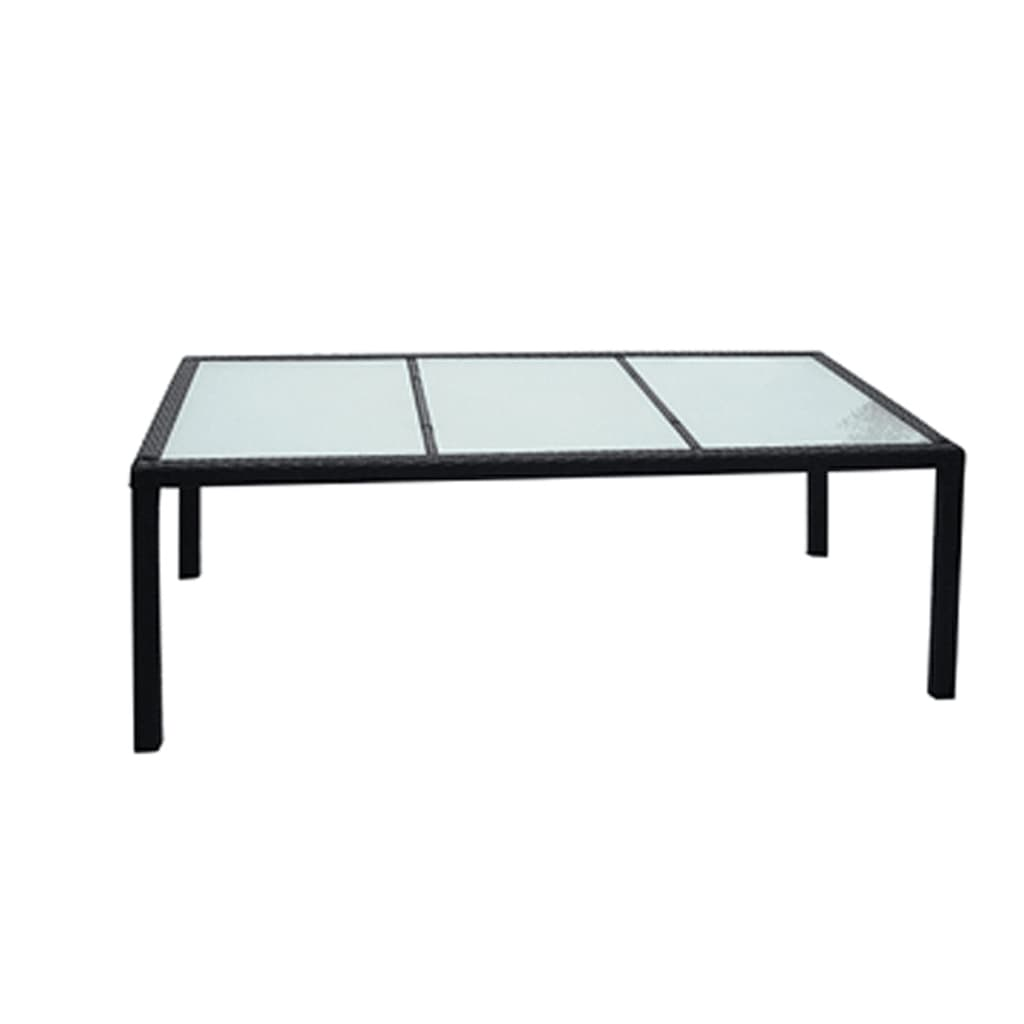 vidaXL Eettafel voor buiten poly rattan 190x90x75 cm zwart