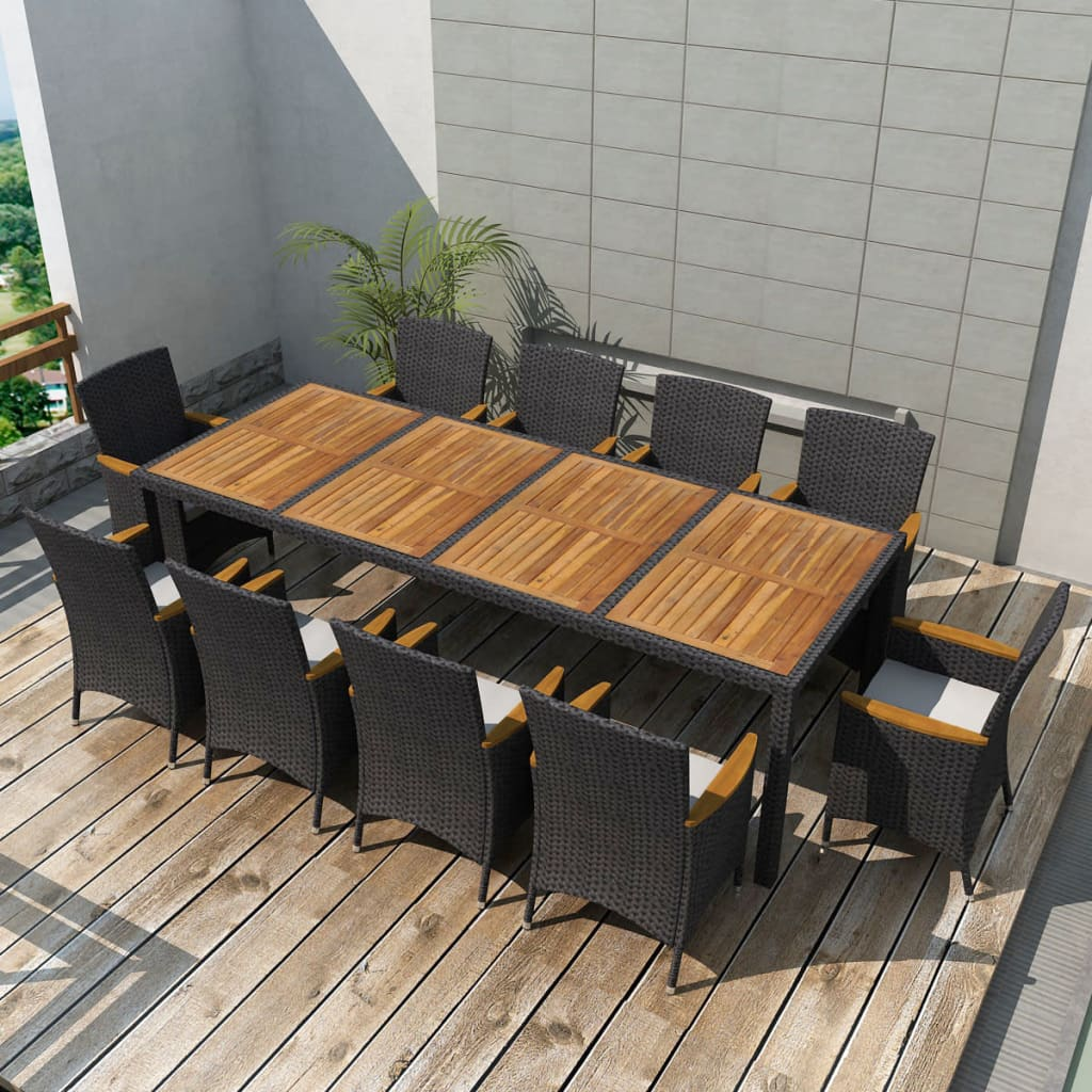 Outdoor Dining Set 21 Piece Poly Rattan Wicker Black Garden Table ...