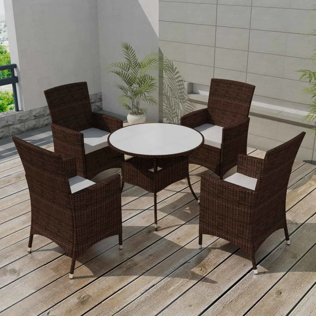 vidaxl neunteiliges gartenm bel set poly rattan braun g nstig kaufen. Black Bedroom Furniture Sets. Home Design Ideas