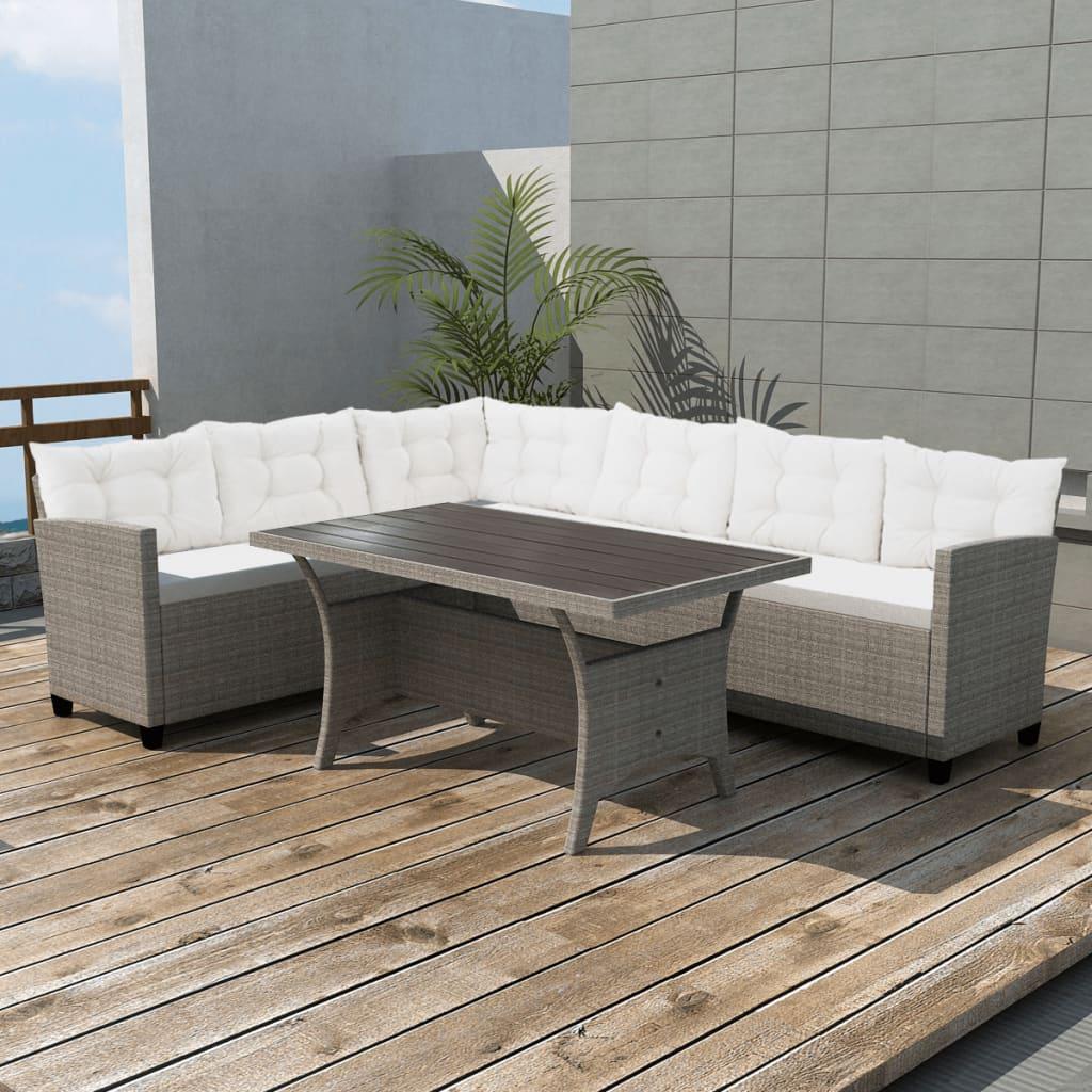 Vidaxl conjunto sof de esquina para jard n 12 piezas poli for Sofa exterior esquina