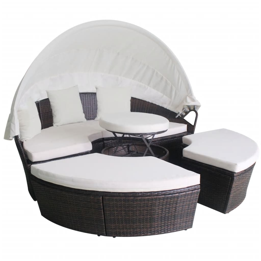 vidaxl sonnenliege poly rattan rund braun garten muschel sonneninsel gartenm bel ebay. Black Bedroom Furniture Sets. Home Design Ideas