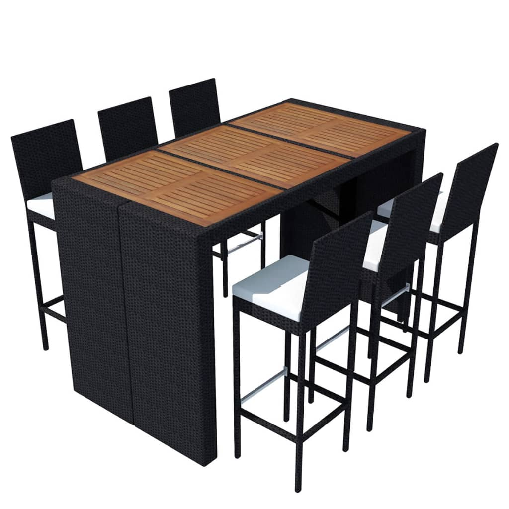 acheter vidaxl jeu de bar de jardin 13 pcs rotin et bois d 39 acacia pas cher. Black Bedroom Furniture Sets. Home Design Ideas