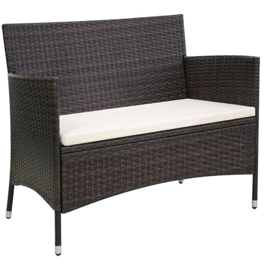 acheter vidaxl banc de jardin rotin synth tique 106 x 60 x 84 cm marron pas cher. Black Bedroom Furniture Sets. Home Design Ideas