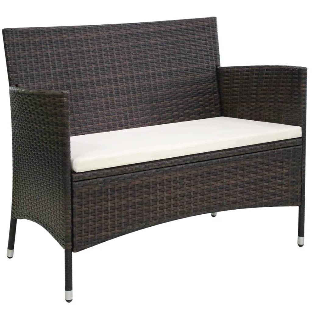 vidaxl gartenbank poly rattan 106 x 60 x 84 cm braun zum schn ppchenpreis. Black Bedroom Furniture Sets. Home Design Ideas