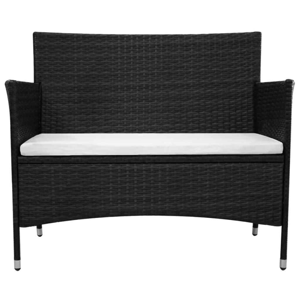 acheter vidaxl banc de jardin rotin synth tique 106 x 60 x 84 cm noir pas cher. Black Bedroom Furniture Sets. Home Design Ideas