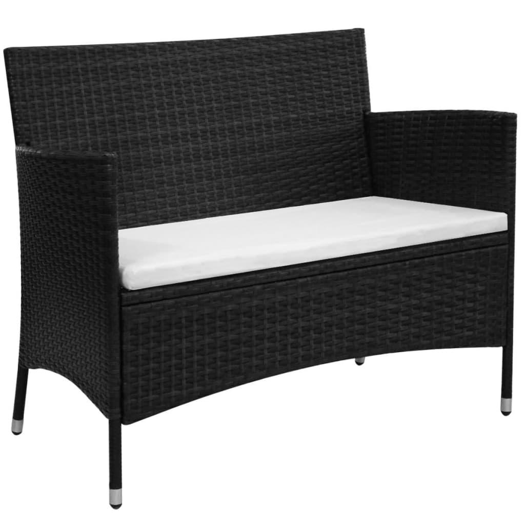 vidaXL Sofa ogrodowa z polirattanu 106x60x84, czarna