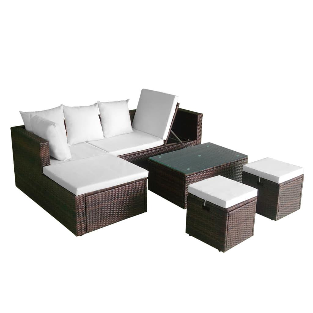 acheter vidaxl ensemble de canap d 39 angle pour jardin 12 pcs rotin poly marron pas cher. Black Bedroom Furniture Sets. Home Design Ideas