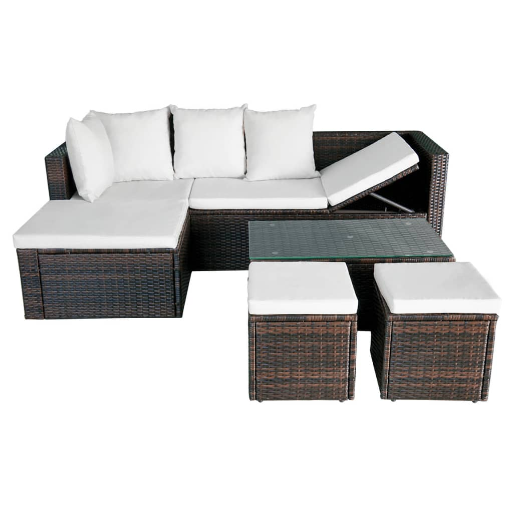 vidaxl garden corner sofa set 12 piece brown wicker rattan outdoor lounge table ebay. Black Bedroom Furniture Sets. Home Design Ideas