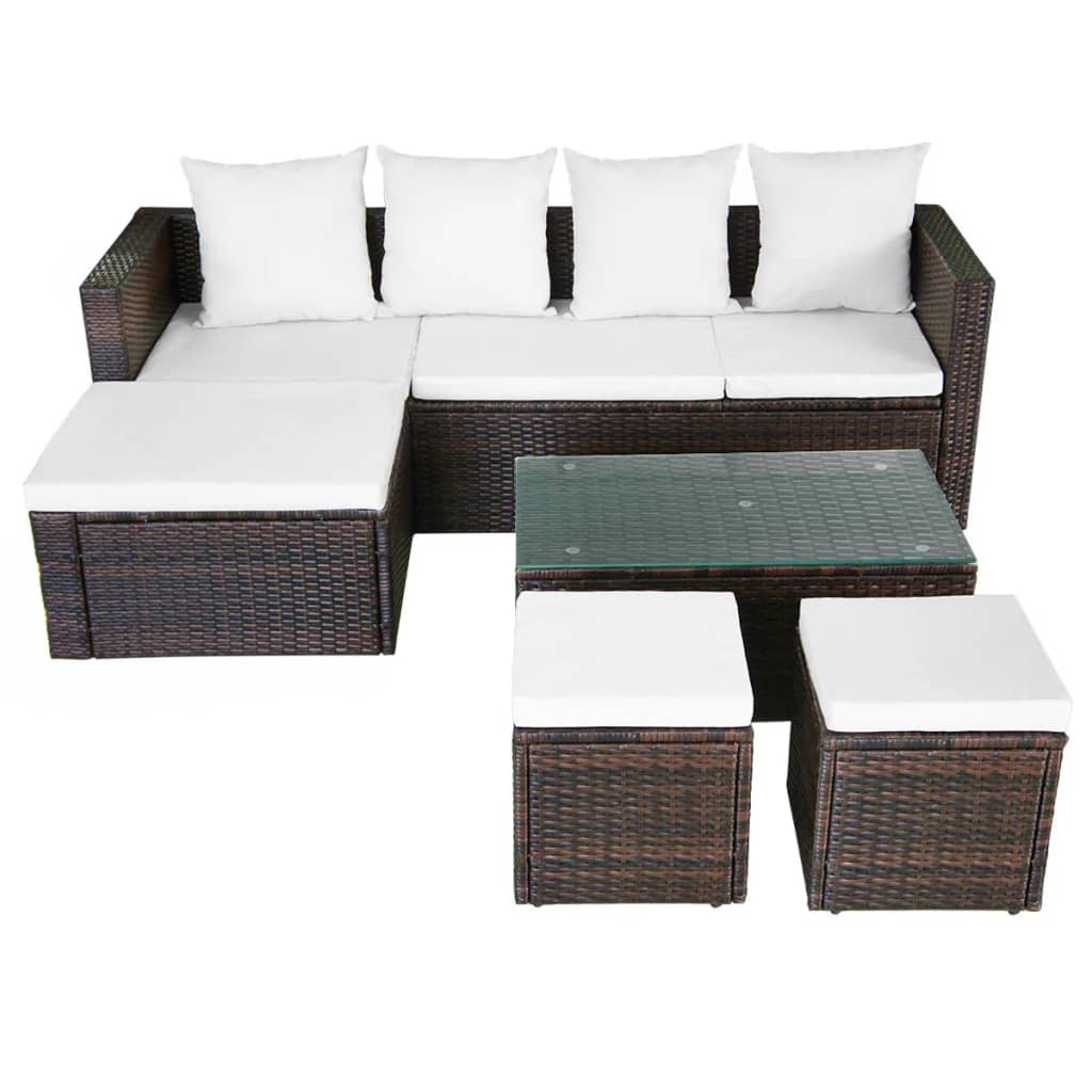 acheter vidaxl ensemble de canap d 39 angle pour jardin 12 pcs rotin poly marron pas cher. Black Bedroom Furniture Sets. Home Design Ideas