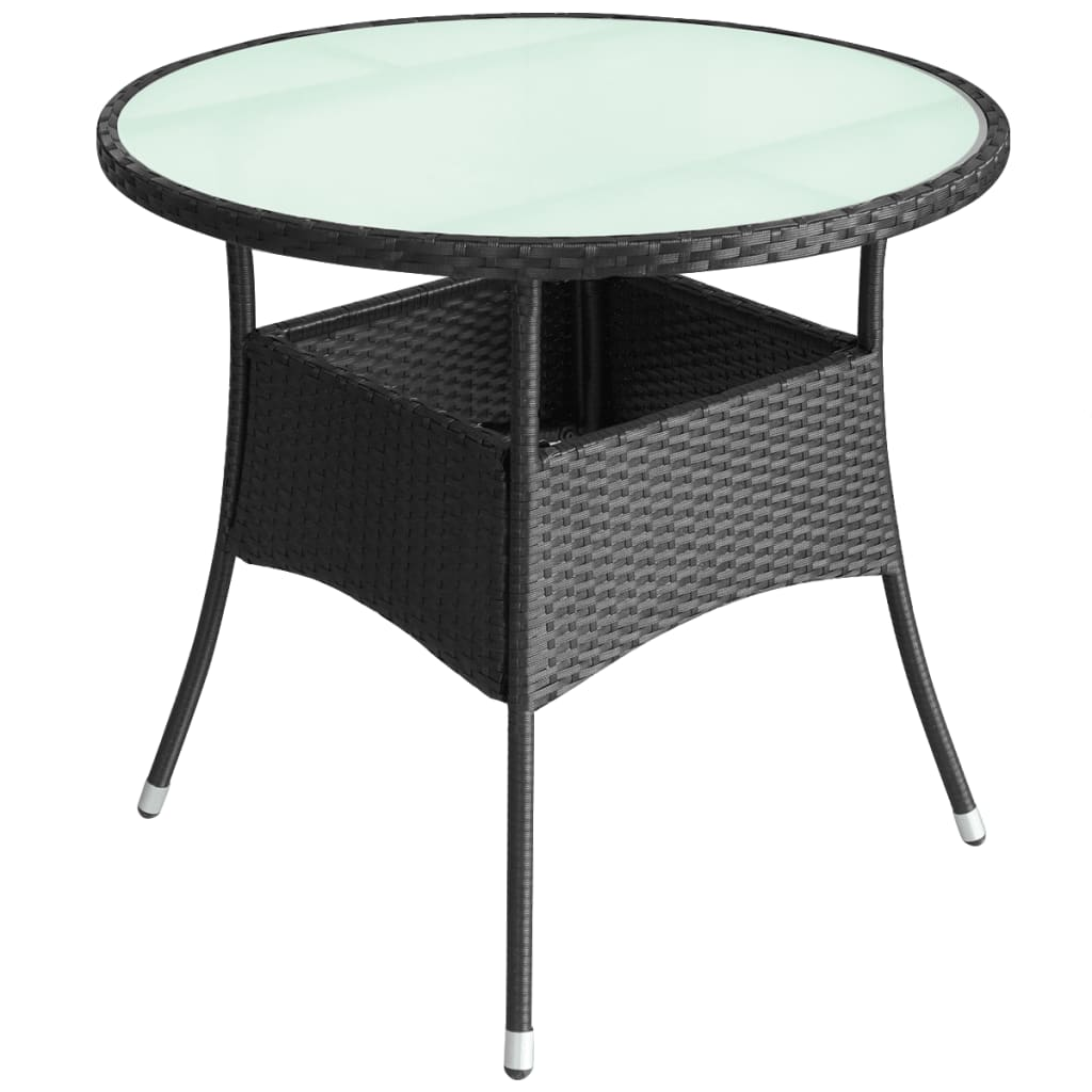 acheter vidaxl table de jardin r sine tress e 60 x 74 cm noir pas cher. Black Bedroom Furniture Sets. Home Design Ideas