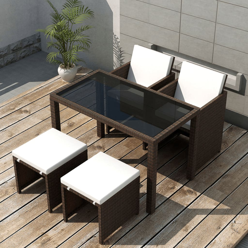 Image Is Loading Vidaxl Outdoor Dining Set 11 Piece Brown Poly