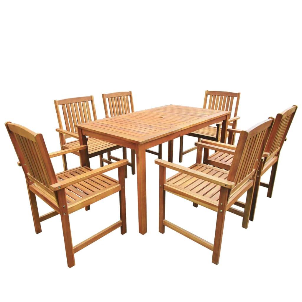 vidaXL 7-részes barna tömör akácfa kültéri asztal és szék szett