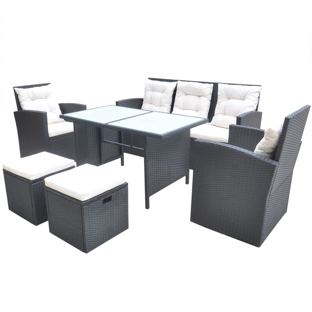 vidaXL Conjunto de Muebles de Jardín Pack 18 Piezas Poli Ratán de ...
