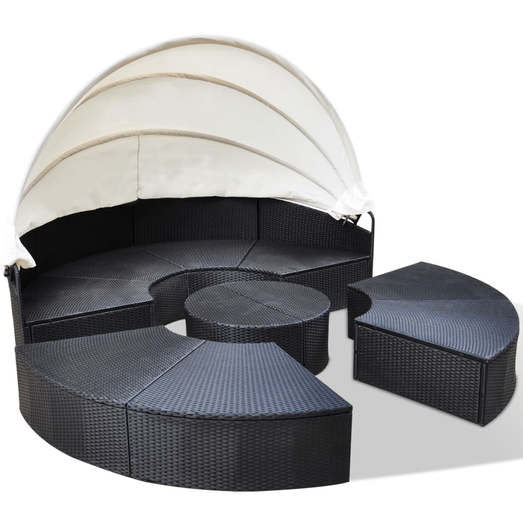 vidaxl sonneninsel poly rattan rund 230 cm schwarz sonnenliege garten muschel ebay. Black Bedroom Furniture Sets. Home Design Ideas