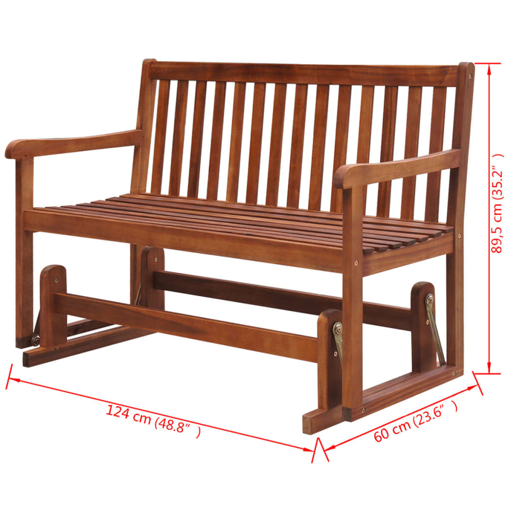 Vidaxl Porch Glider Garden Swing Bench Acacia Wood