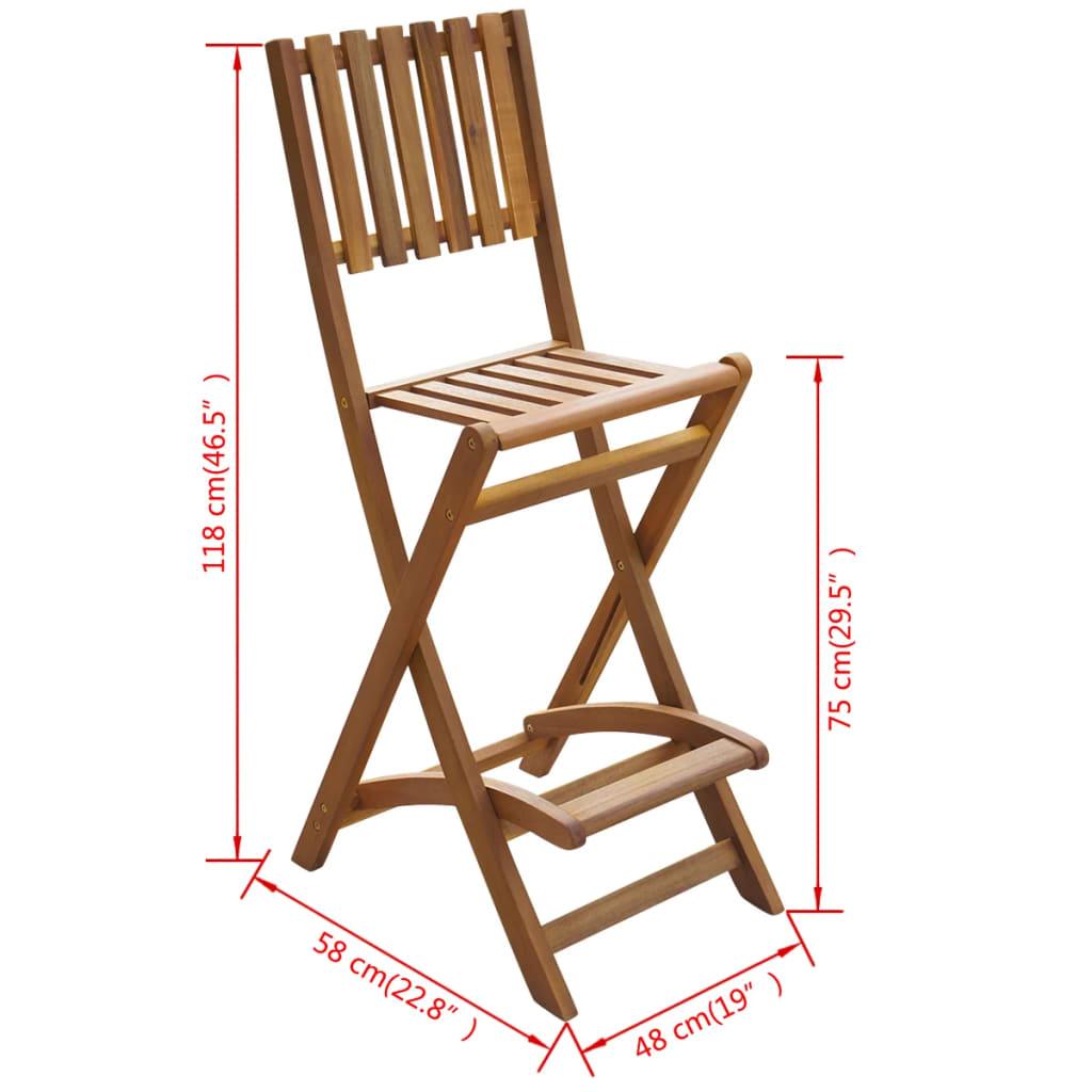 Vidaxl chaises pliantes de bar d 39 ext rieur 2 pi ces bois d for Bois acacia exterieur