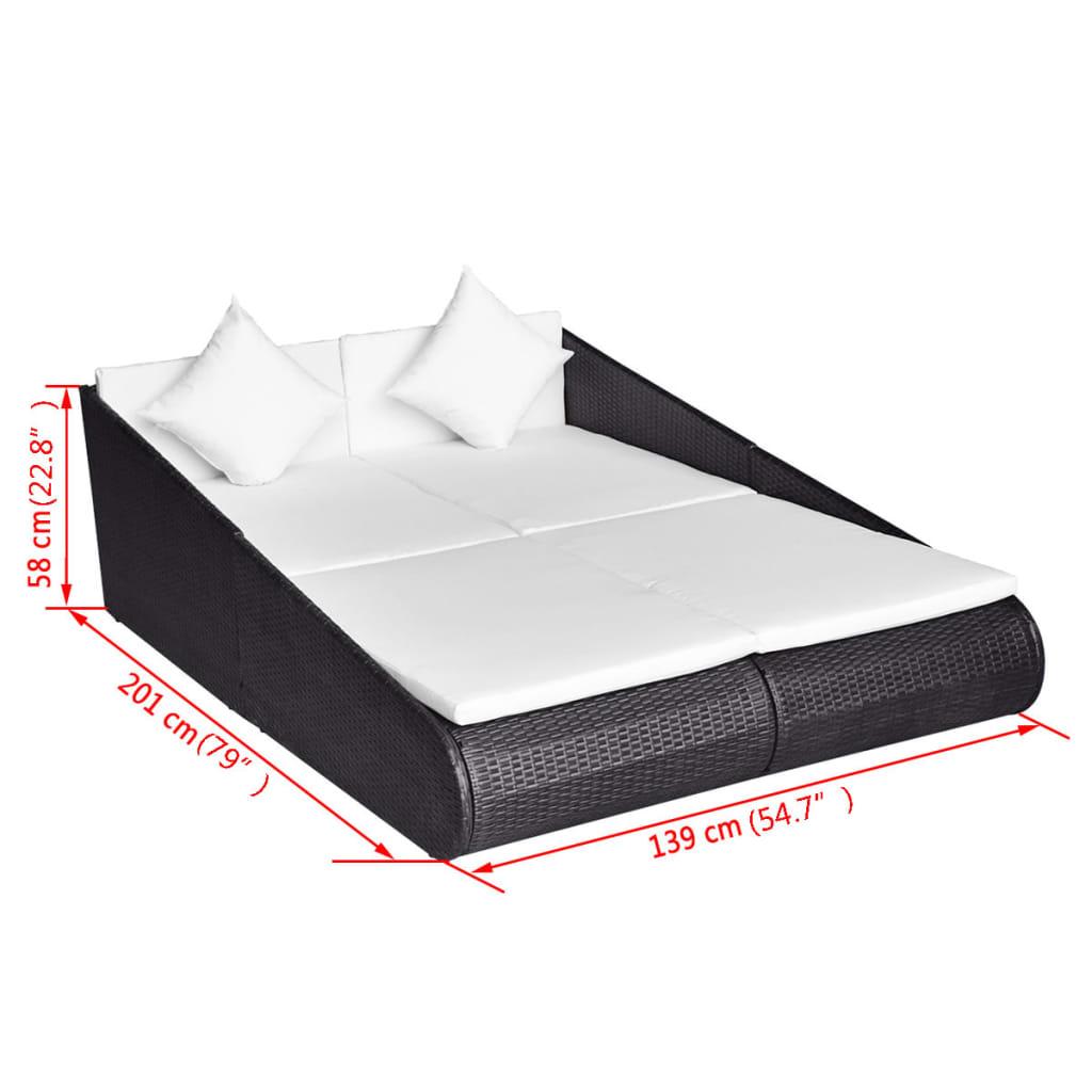 vidaxl outdoor liege poly rattan 201 139 58 cm schwarz g nstig kaufen. Black Bedroom Furniture Sets. Home Design Ideas