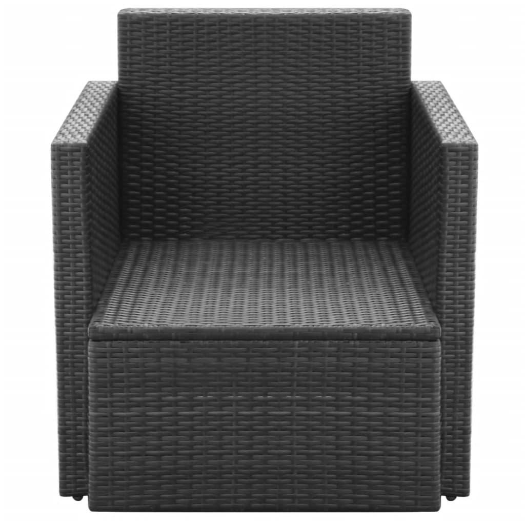 vidaxl gartensessel poly rattan 65 x 65 x73 cm schwarz. Black Bedroom Furniture Sets. Home Design Ideas