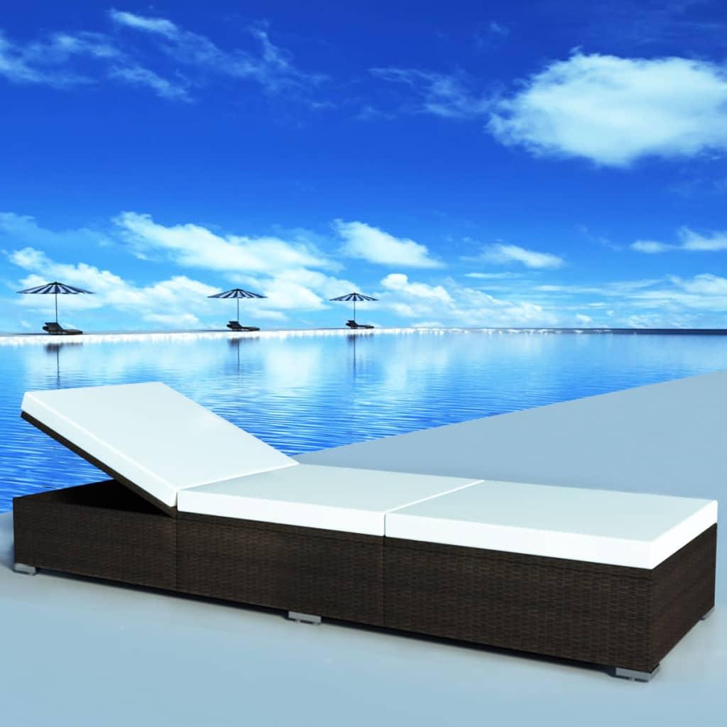 vidaXL barna poly-rattan napozóágy 195x60x31 cm