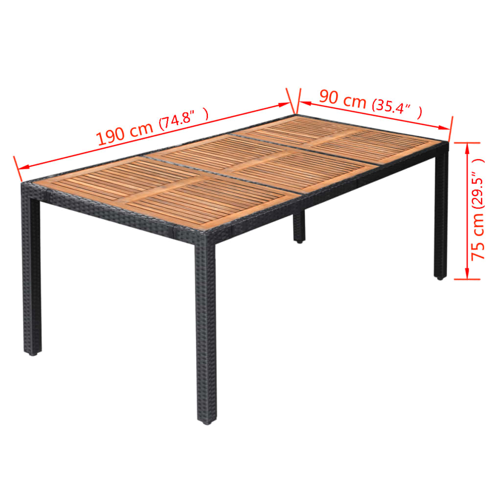 vidaxl garten essgruppe 17 tlg schwarz poly rattan. Black Bedroom Furniture Sets. Home Design Ideas