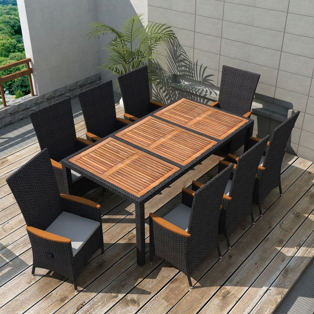 vidaxl garten essgruppe 17 tlg schwarz poly rattan akazienholz xxl g nstig kaufen. Black Bedroom Furniture Sets. Home Design Ideas
