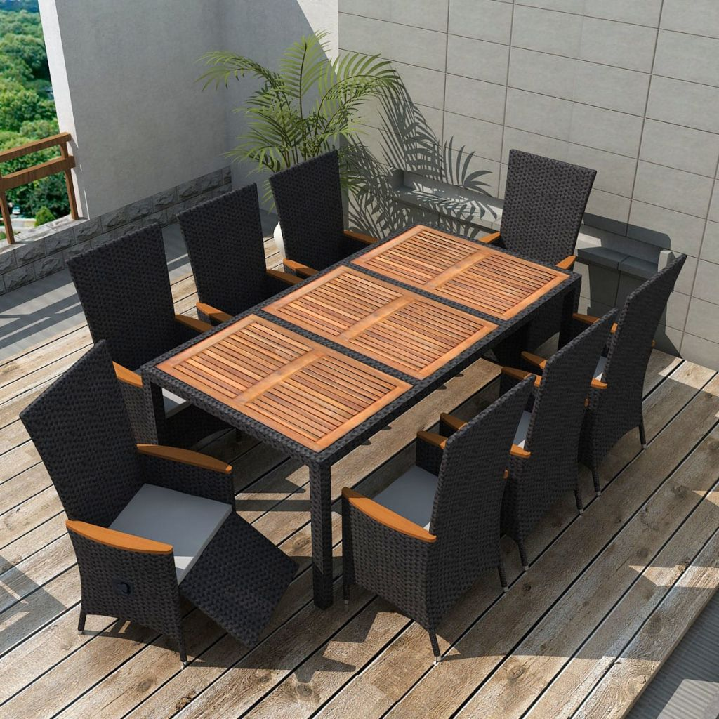 vidaxl 17 teilige garten essgruppe schwarz poly rattan akazienholz xxl g nstig kaufen. Black Bedroom Furniture Sets. Home Design Ideas