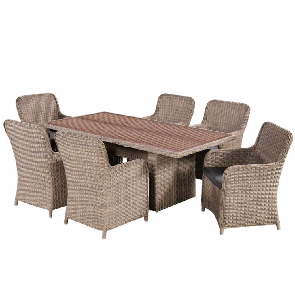 vidaxl garten essgruppe 13 tlg poly rattan akazienholz tischplatte gartenm bel ebay. Black Bedroom Furniture Sets. Home Design Ideas