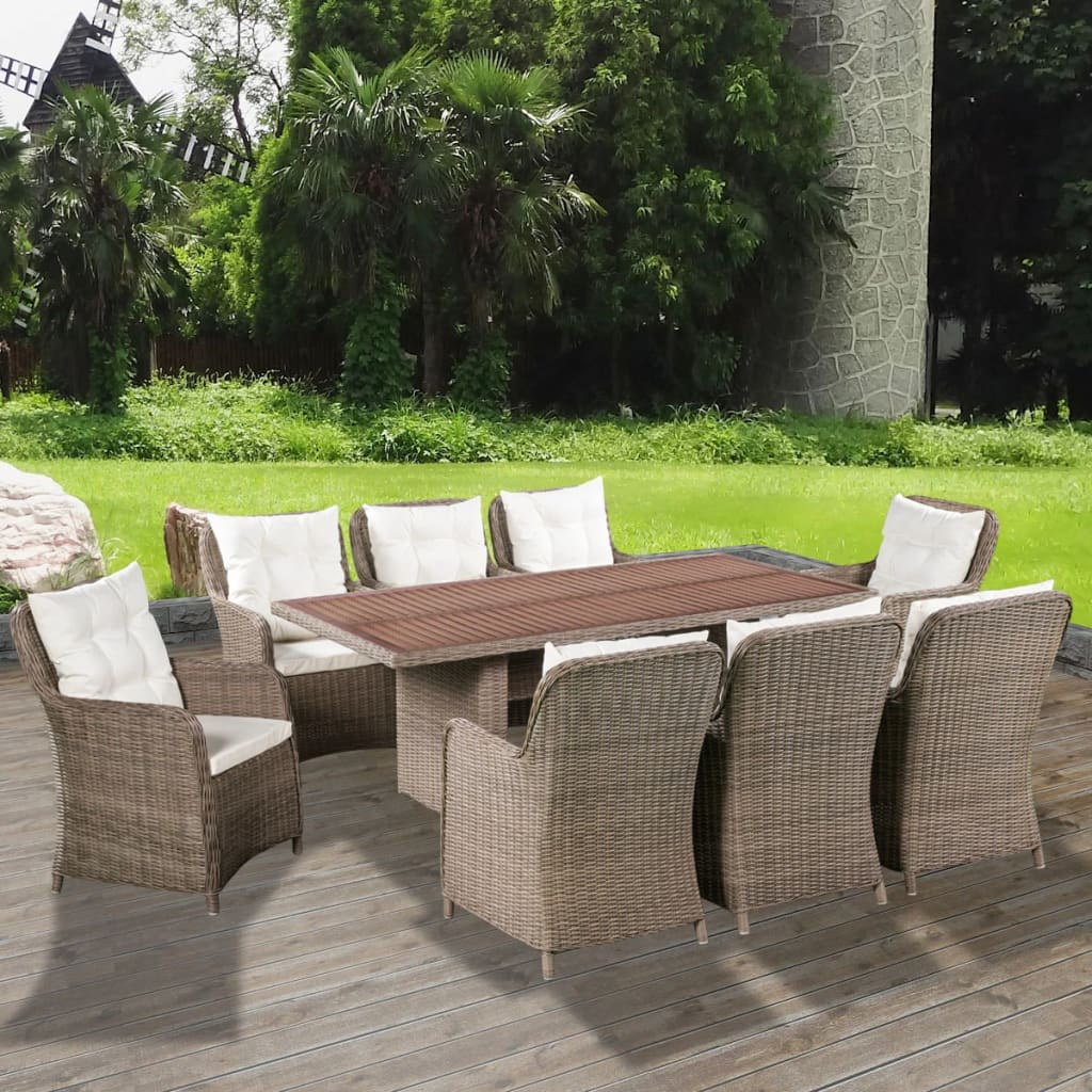 vidaxl garten essgruppe 25 tlg poly rattan gartenm bel akazienholz tischplatte ebay. Black Bedroom Furniture Sets. Home Design Ideas