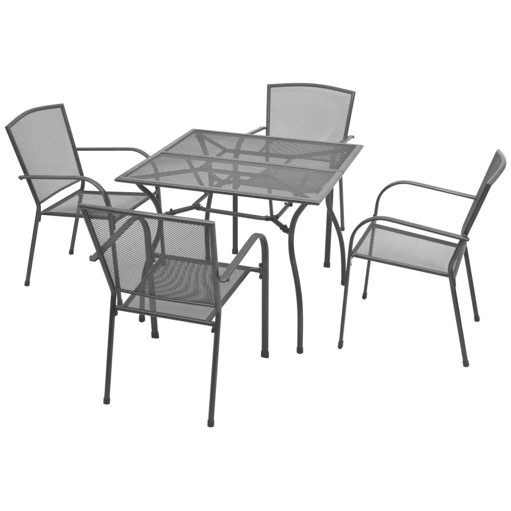 vidaXL 5-részes acélhálós kerti étkezőgarnitúra
