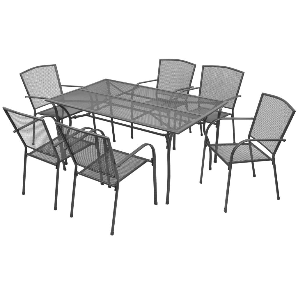 vidaXL 7-częściowy zestaw mebli ogrodowych, stalowa siatka