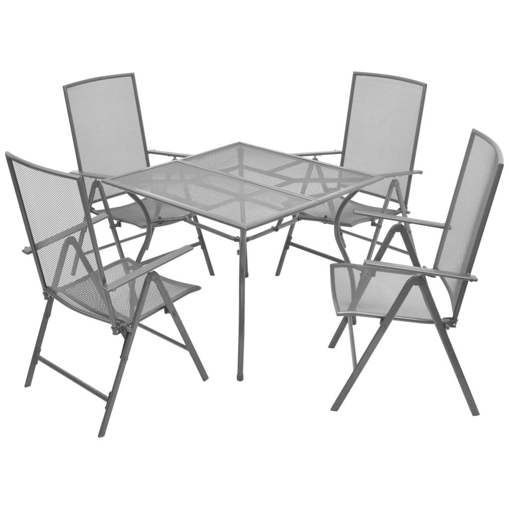 vidaXL 5-részes kültéri, összecsukható acélhálós étkezőgarnitúra
