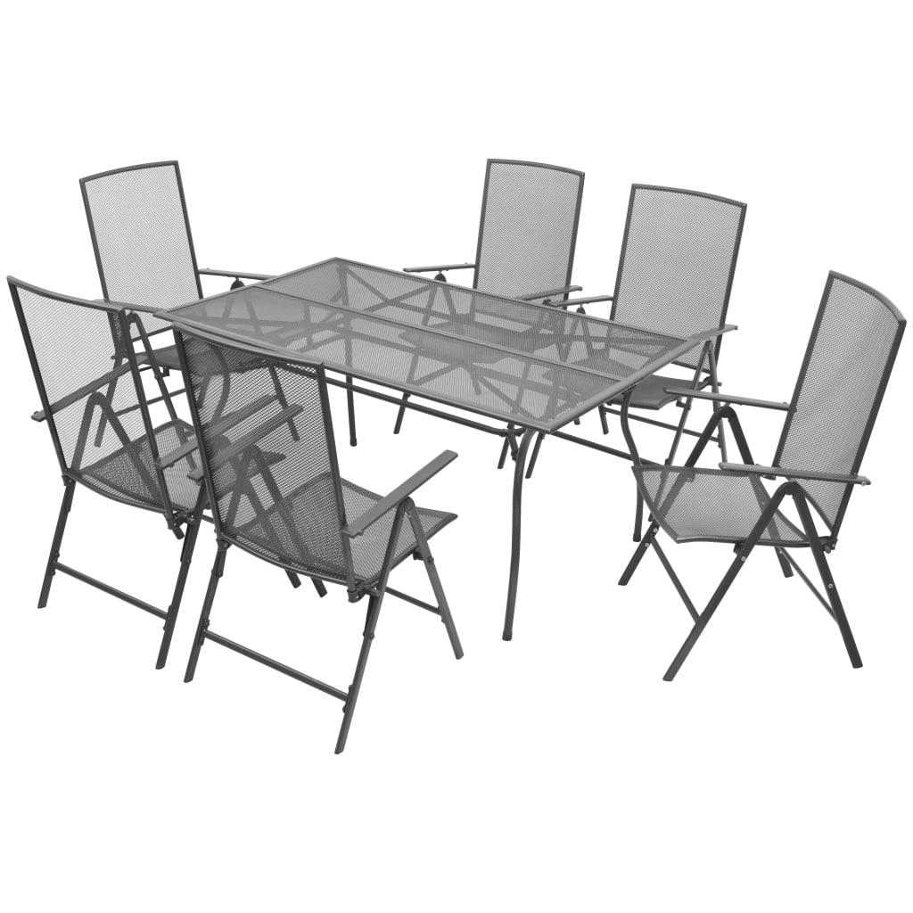 vidaXL Zestaw rozkładanych mebli ogrodowych, 7 części, siatka stalowa