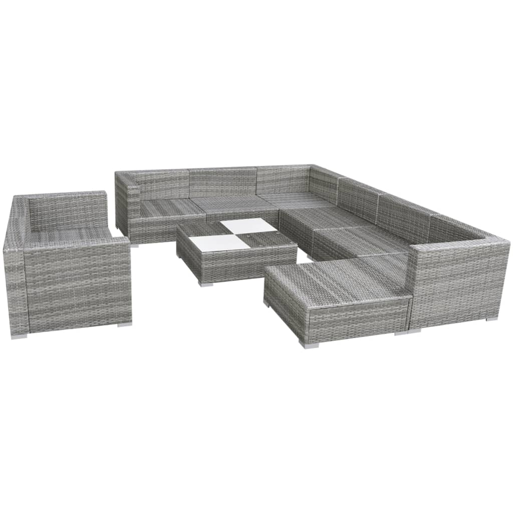 vidaxl gartensofa sitzgarnitur 32 tlg poly rattan grau. Black Bedroom Furniture Sets. Home Design Ideas