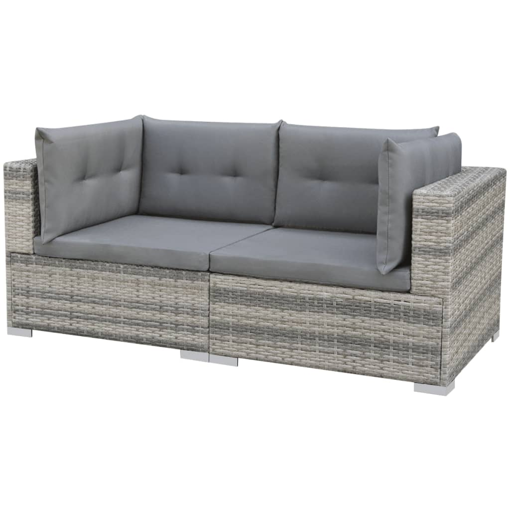 vidaxl poly rattan gartensofa 32 tlg grau sitzgruppe lounge gartenm bel set ebay. Black Bedroom Furniture Sets. Home Design Ideas