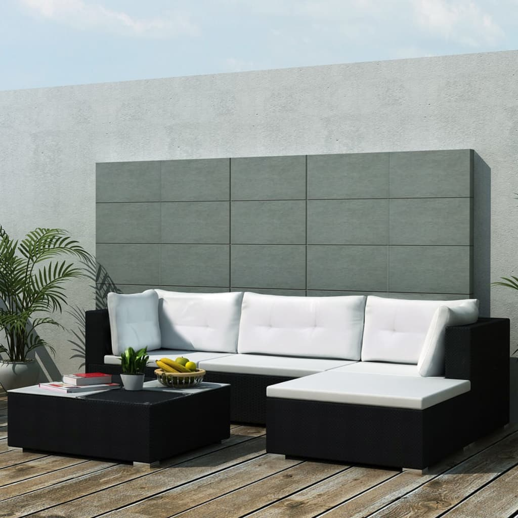 vidaxl garden sofa set 14 piece poly rattan black outdoor patio furniture seat ebay. Black Bedroom Furniture Sets. Home Design Ideas