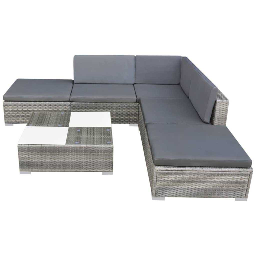 Vidaxl Garden Sofa Set 15 Piece Poly Rattan Grey Outdoor Patio