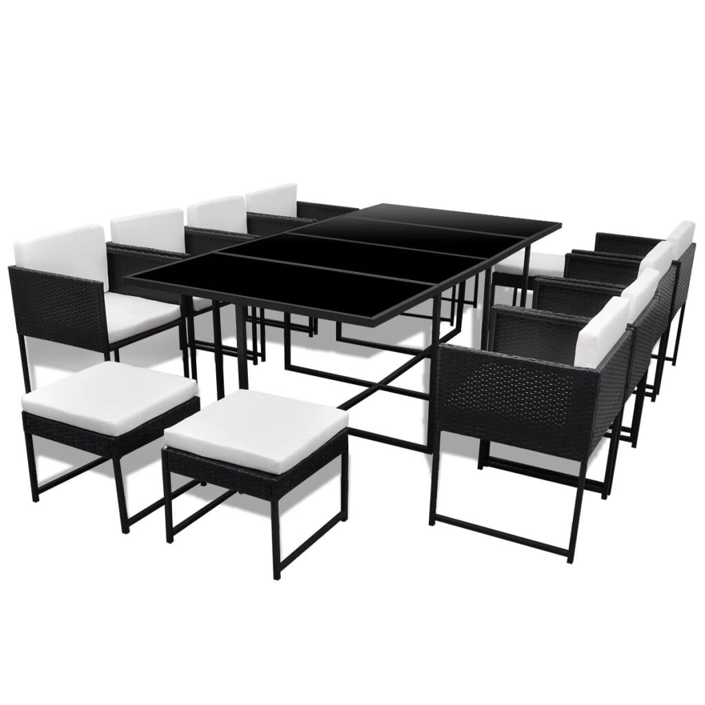 VIDAXL POLY Rattan Essgruppe 33-tlg. Gartenmöbel Set Sitzgruppe ...