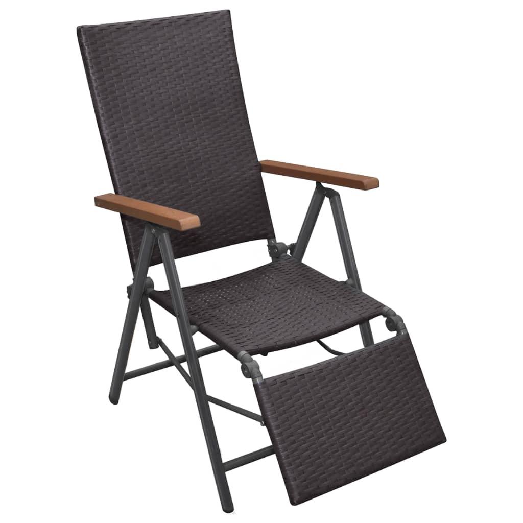 vidaXL Rozkładane krzesło polirattanu, brązowe, 55 x 68 107 cm