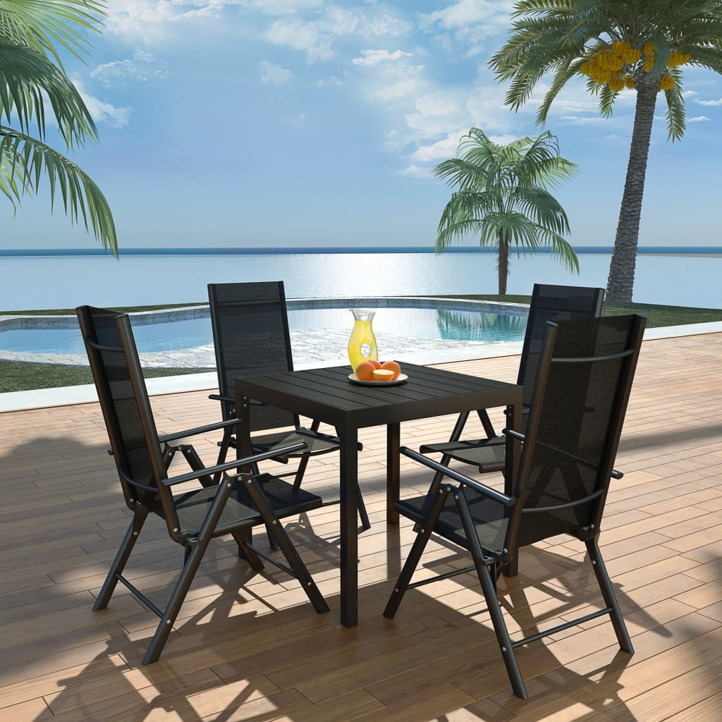 vidaXL Outdoor Dining Set WPC Outdoor Patio Table Folding Chairs 5/7 ...
