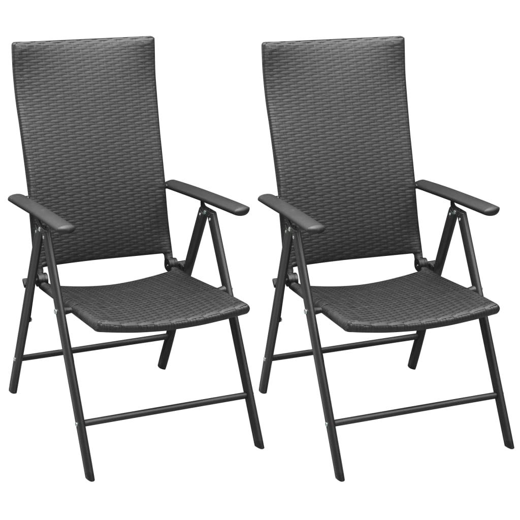 vidaXL 2 db fekete alumínium polyrattan kerti szék