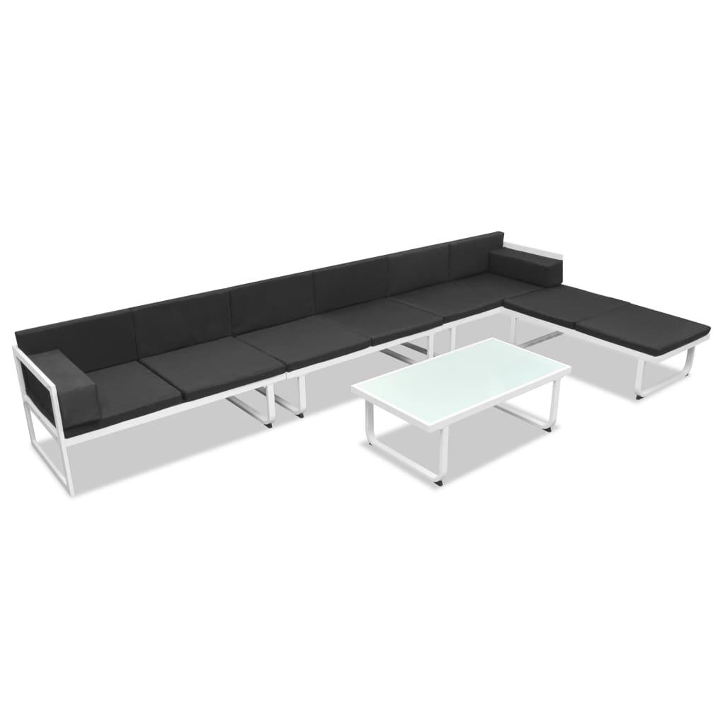 vidaXL Zestaw wypoczynkowy do ogrodu, 17 cz., aluminium, czarno-biały